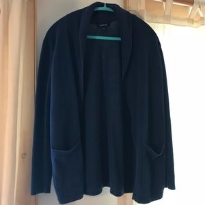 Lands End Navy open front cardigan with pockets